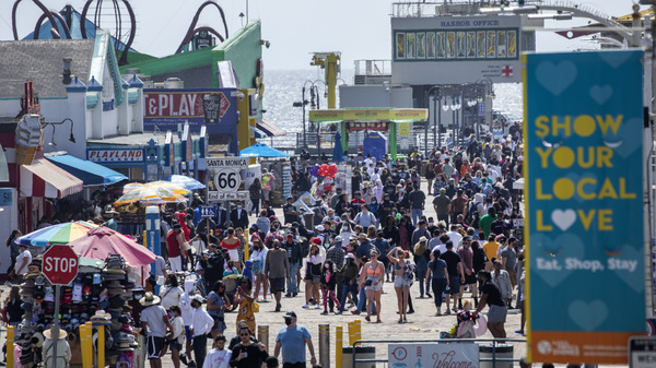 The Santa Monica Pier welcomed outdoor visitors on Monday as Los Angeles County entered the less-restrictive orange tier. The following day, California Gov. Gavin Newsom announced a target statewide reopening date of June 15, provided certain public health criteria are met.