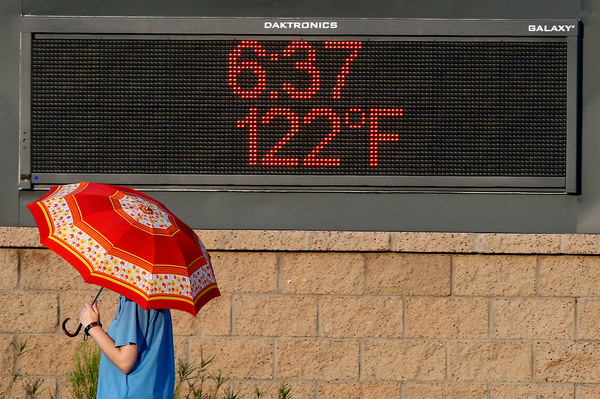 A pedestrian using an umbrella to get some relief from the sun walks past a sign displaying the temperature on June 20, 2017, in Phoenix.