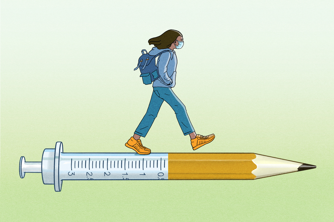 A masked college student walks along a syringe that morphs into a pencil.