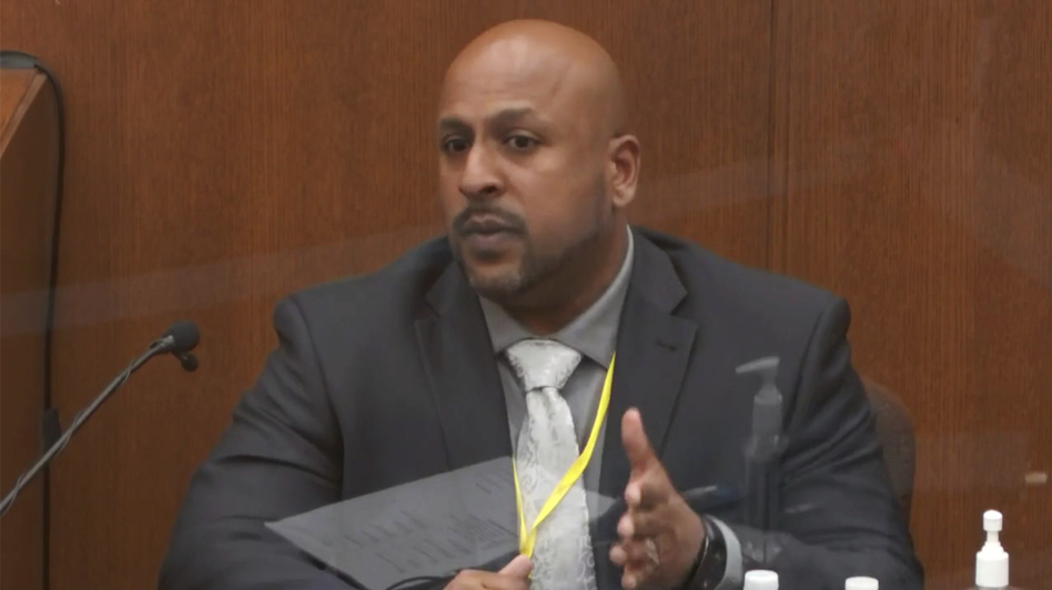 Senior Special Agent James Reyerson of the Minnesota Bureau of Criminal Apprehension testifies Wednesday at the trial of former police officer Derek Chauvin in the death of George Floyd. (pool via AP)