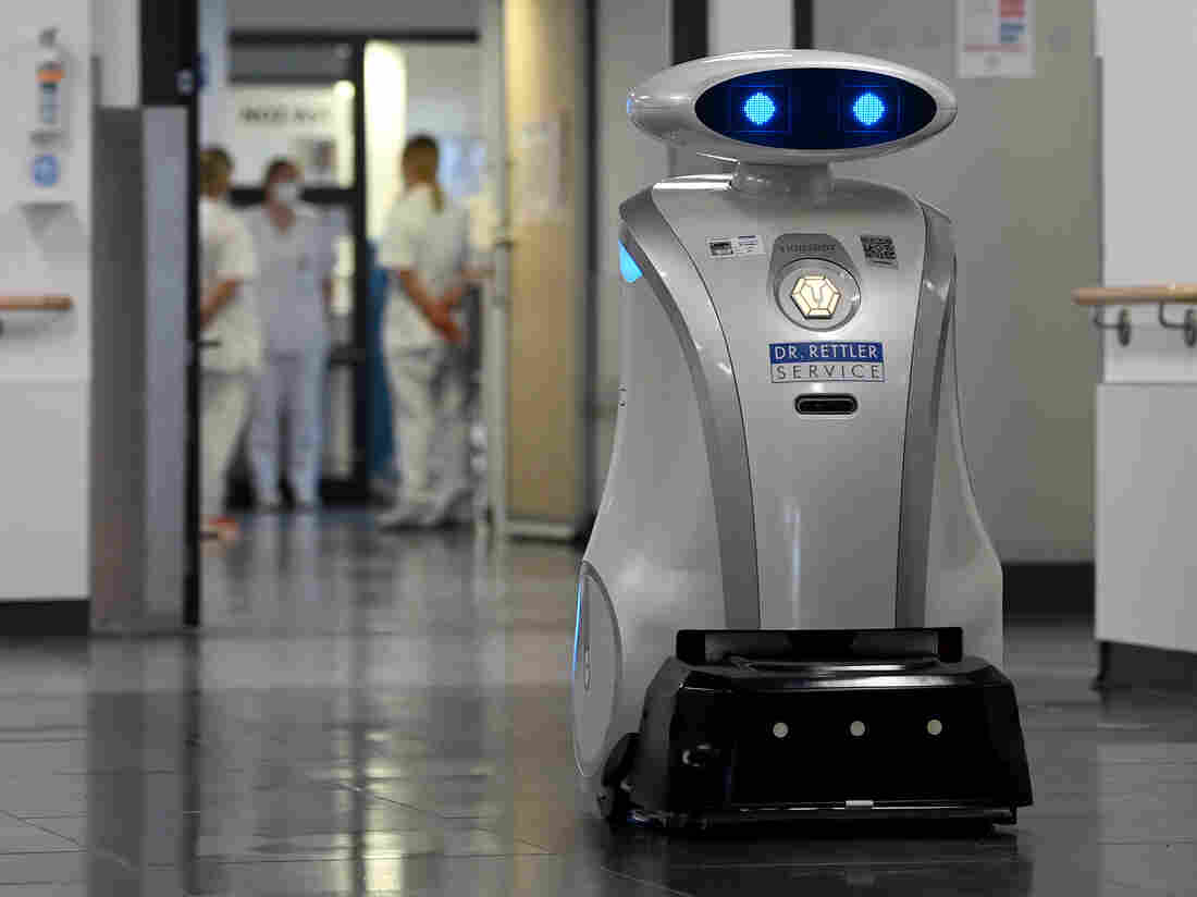 A robot in a corridor.