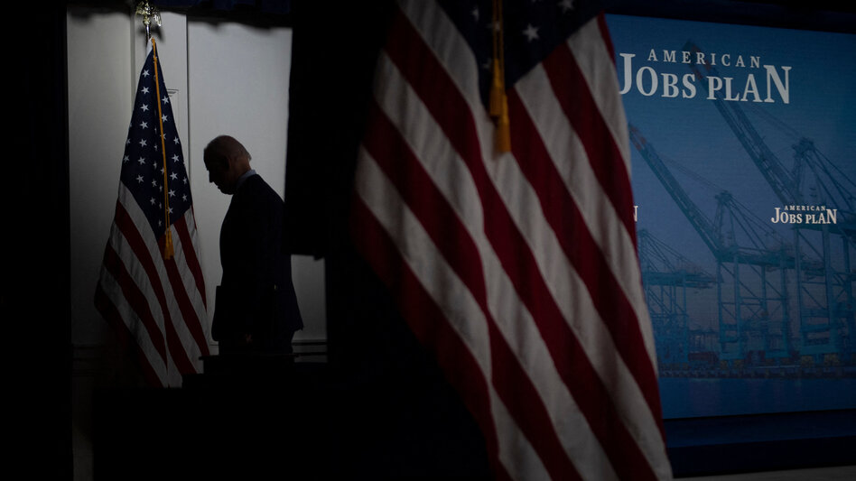 President Biden leaves after speaking about his sprawling $2.3 trillion American Jobs Plan on Wednesday. (Brendan Smialowski/AFP via Getty Images)