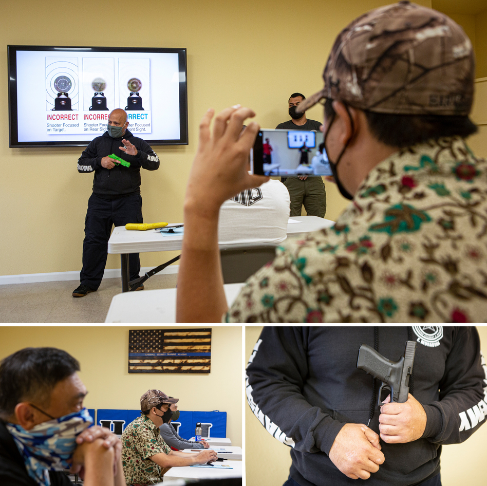 Top: Sunha Kim records Edmon Muradyan as he demonstrates safety during the firearms training course. Bottom left: Participants in the firearms training course. Bottom right: Muradyan demonstrates safety during the training course.