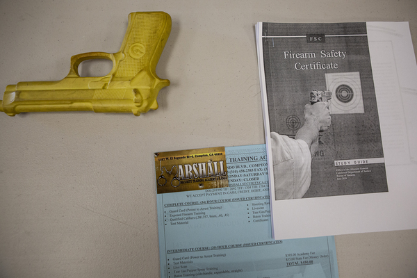 Materials used in the firearms training course.