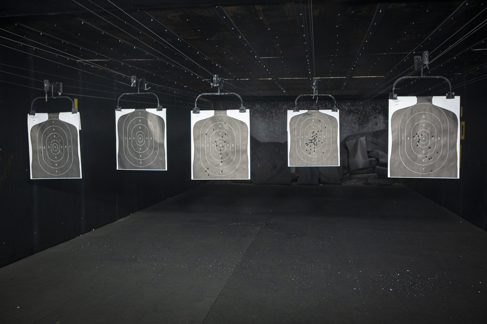 Paper targets in the firearms training course.