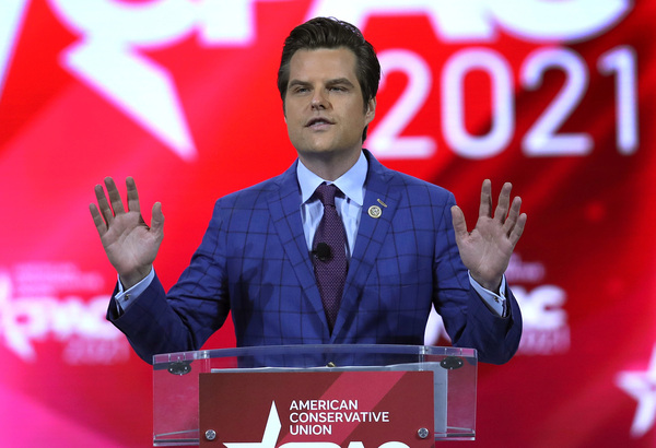 U.S. Rep. Matt Gaetz, R-Fla., here at the Conservative Political Action Conference in February, confirms he's under investigation by the Justice Department but denies the allegations tied to the inquiry.