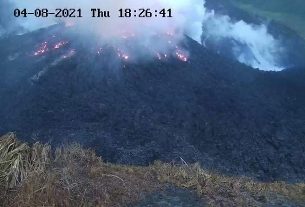 Smoke spews Thursday from the glowing dome of the La Soufrière volcano on St. Vincent.