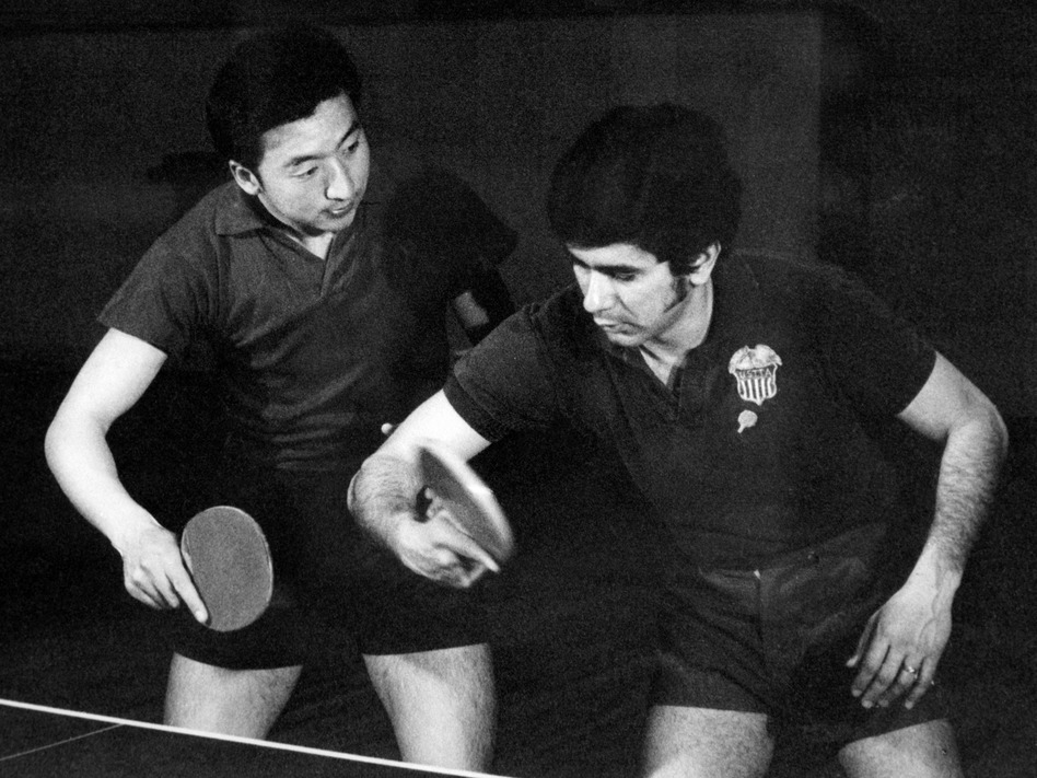 Chinese and U.S. table tennis players train together in April 1971 in Beijing. April 10 marks the 50th anniversary of what became known as pingpong diplomacy between the two nations. (AFP via Getty Images)