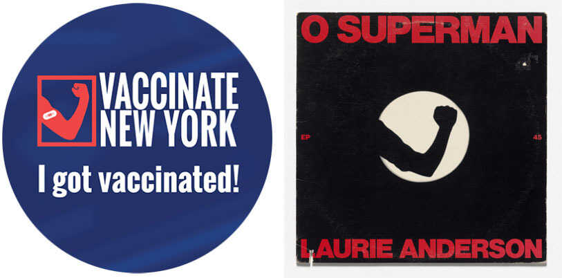 """Composite image showing the Vaccinated New York Logo and Laurie Anderson's album cover """"O Superman."""""""