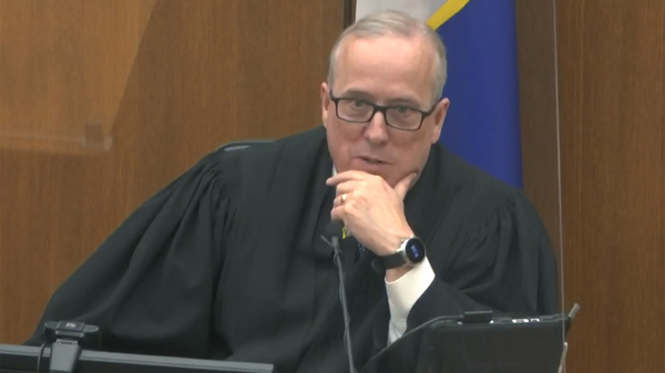 Hennepin County Judge Peter Cahill discusses motions before the court Monday. He denied the defense request to question jurors again after a fatal police shooting Sunday and immediately sequester them in the trial of former Minneapolis police officer Derek Chauvin.