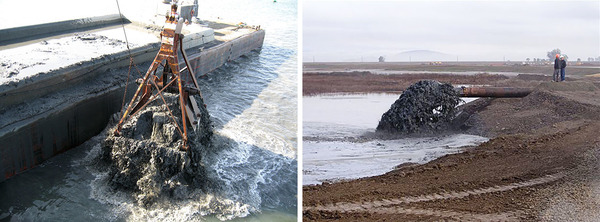 The Army Corps of Engineers releases two-thirds of dredged sediment at disposal sites. Using it for restoration, like at the Hamilton Wetland Restoration Project in San Francisco Bay (right), is generally more costly.