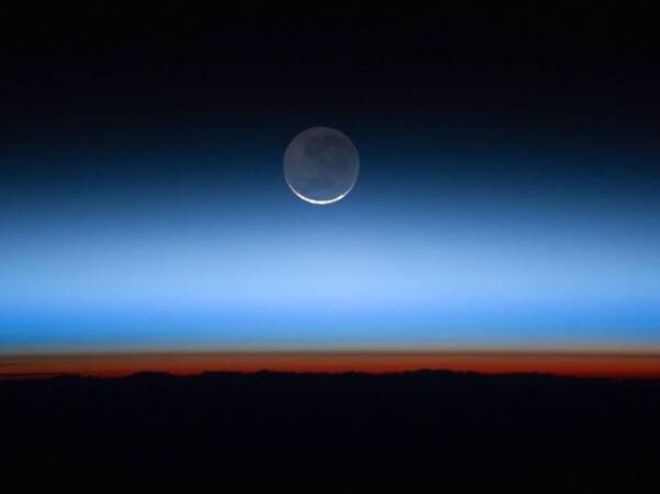 Earth's atmosphere photographed from the International Space Station. Greenhouse gases have accumulated rapidly and are trapping extra heat in the atmosphere. It will take decades for the gases to break down naturally or be reabsorbed on Earth's surface.