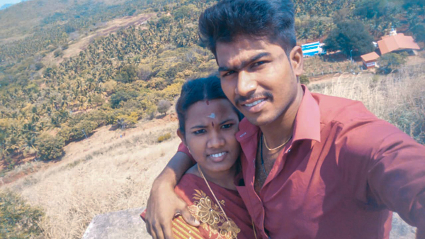 Ezhil Arasi (left) and Ranjith Kumar. The pandemic kept her from her pregnancy checkups. Their baby was born with an intestinal blockage that required surgery and died during the procedure.</body></html>