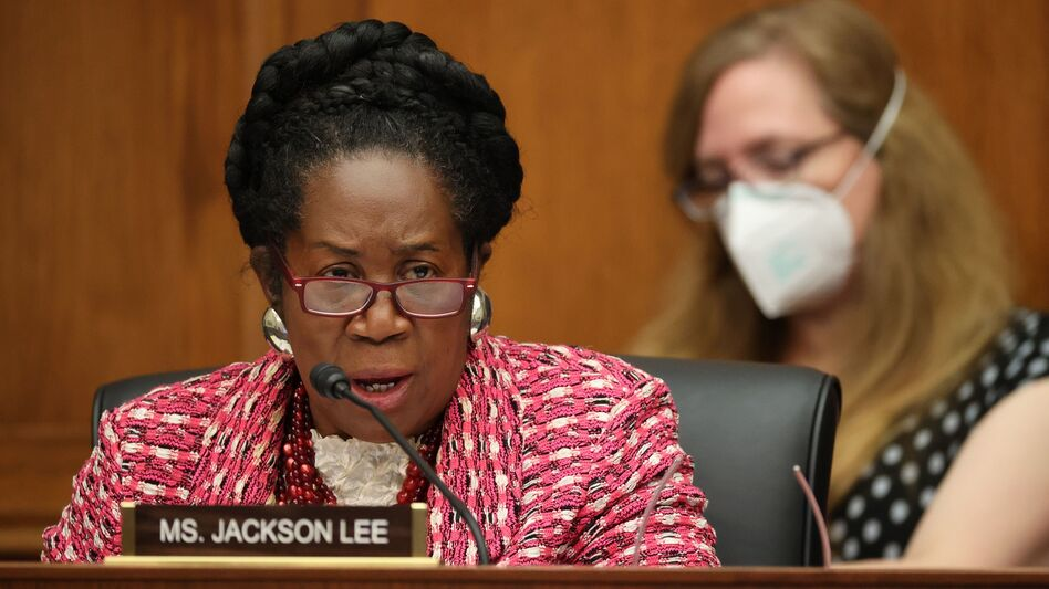 Democratic Texas Rep. Sheila Jackson Lee is the lead sponsor of H.R. 40, a bill that would establish a commission to study reparations for slavery. (Chip Somodevilla/Pool/AFP via Getty Images)