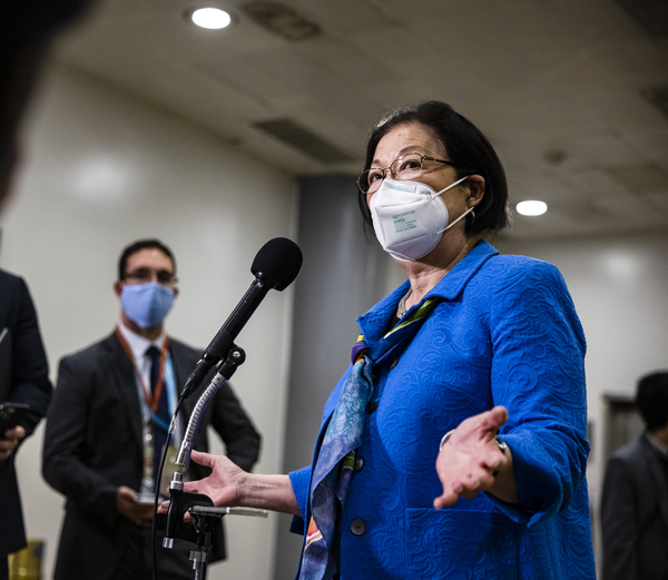 Hawaii Sen. Mazie Hirono, seen here at the Capitol in February, sponsored the COVID-19 Hate Crimes Act to address the rise of violence targeted at Asian Americans and Pacific Islanders.