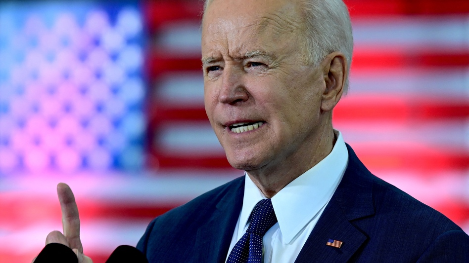 President Biden unveils a $2 trillion infrastructure plan in Pittsburgh on March 31. In his speech, Biden said the plan would help the U.S. compete with China. (Jim Watson/AFP via Getty Images)