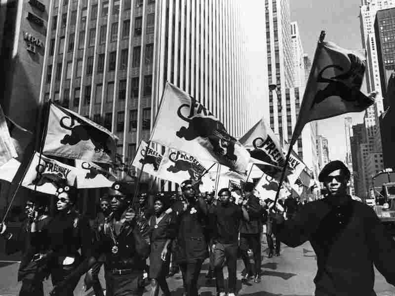 The Black Panthers march in protest of the trial of co-founder Huey P. Newton in Oakland, California.