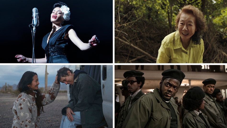 Clockwise from top left: Andra Day in <em>The</em> <em>United States vs. Billie Holiday, </em>Yuh-Jung Youn in<em> Minari, </em>Daniel Kaluuya in<em> Judas and the Black Messiah, </em>and<em> Nomadland </em>director Chloé Zhao with Frances McDormand. (Takashi Seida/Hulu, A24, Glen Wilson/Warner Bros., Joshua James Richards/20th Century Studios)