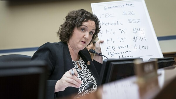 Representative Katie Porter, a Democrat from California, during a House Oversight Committee hearing on Capitol Hill in March 2020.