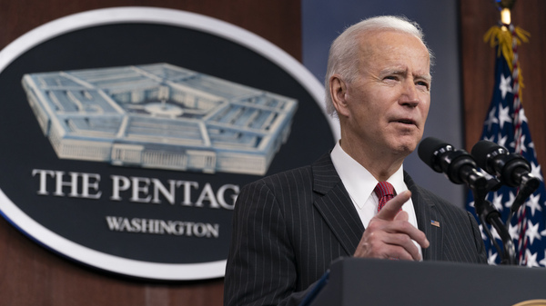 President Biden speaks at the Pentagon on Feb. 10. On Wednesday, he will announce the withdrawal of U.S. troops from Afghanistan after nearly 20 years of war.