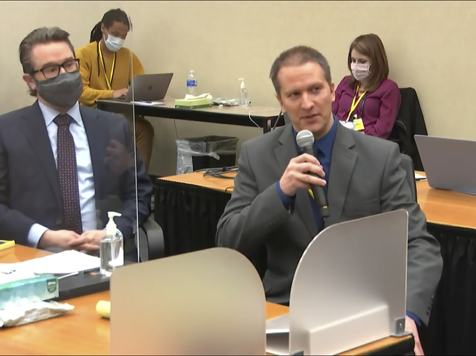 Former Minneapolis police officer Derek Chauvin tells the judge on Thursday he will not testify on his own behalf in his trial over the death of George Floyd. His attorney, Eric Nelson, is seen at left. (Court TV/Pool via AP)