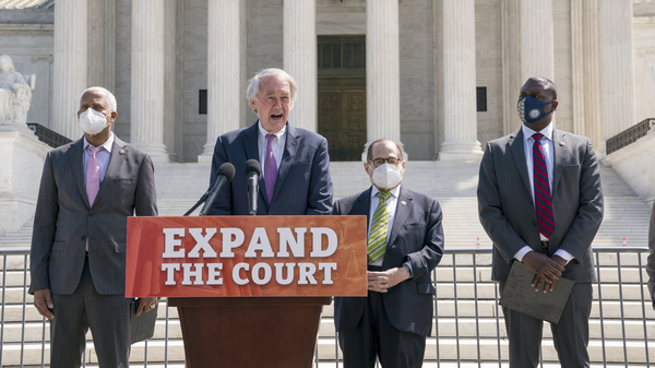 Democratic Rep. Hank Johnson (from left), Sen. Ed Markey, House Judiciary Committee Chairman Jerrold Nadler and Rep. Mondaire Jones announce legislation Thursday to expand the number of seats on the U.S. Supreme Court outside the high court.