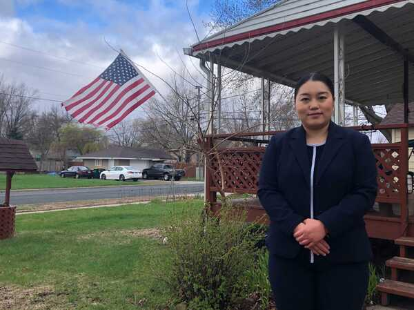 "State Rep. Samantha Vang outside her home in Brooklyn Center, a city she calls ""the future face of America."""