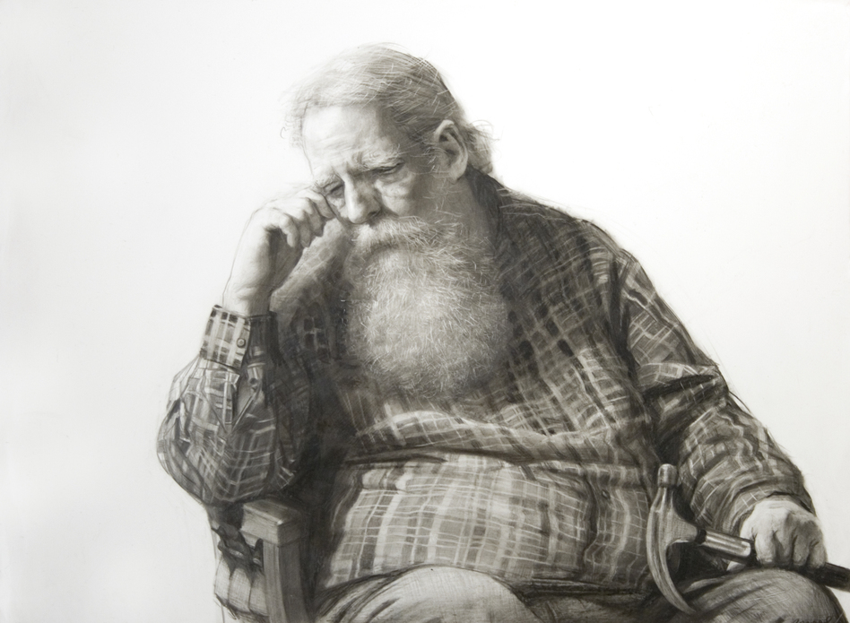 Steven Assael, Henry and Hammer, 2020, graphite and crayon on paper