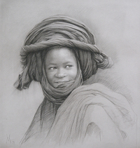 Guillermo Muñoz Vera, Young Man from Mali, 2019, conte pencil and charcoal on paper