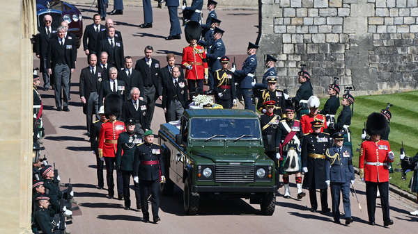 Members of the royal family follow Prince Philip