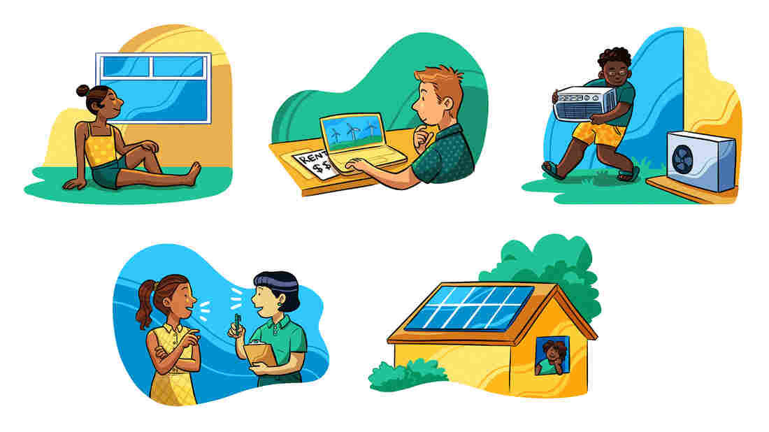 People can take action to improve the climate impact of their homes, including doing the following from top left: opening a window or bundling up rather than changing the thermostat; looking into changing your energy provider to a clean energy if you rent; upgrading to more efficient appliances; talking with an expert; and installing solar panels.