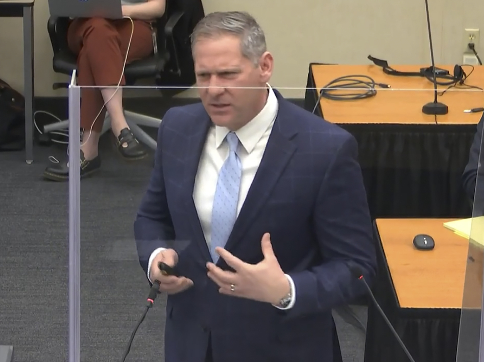 Prosecutor Steve Schleicher gives closing arguments Monday in the trial of former Minneapolis police officer Derek Chauvin. (Court TV/Pool via AP)