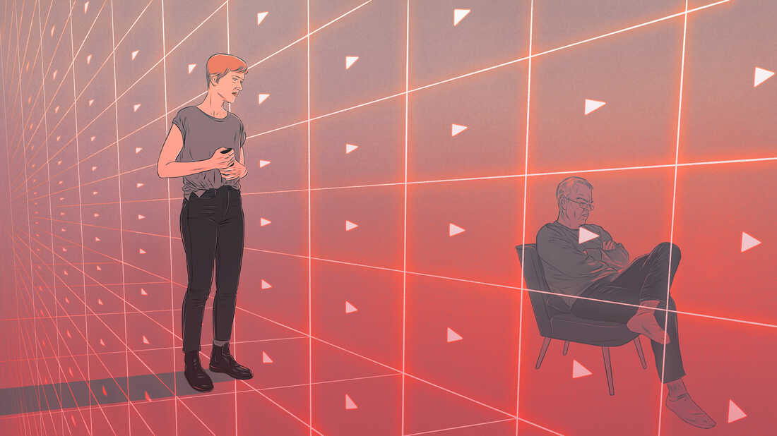 Illustration depicting disinformation videos on YouTube disrupting family relationships