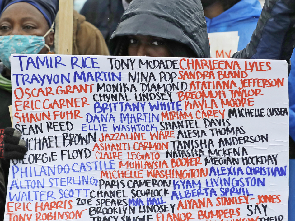 A sign at a June 2020 protest against racial injustice and police violence in Seattle bears the names of people killed by police. (Ted S. Warren/AP)