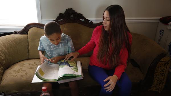 Rashida Humphrey-Wall (right) with her son Kai Humphrey at their home in Washington, D.C.
