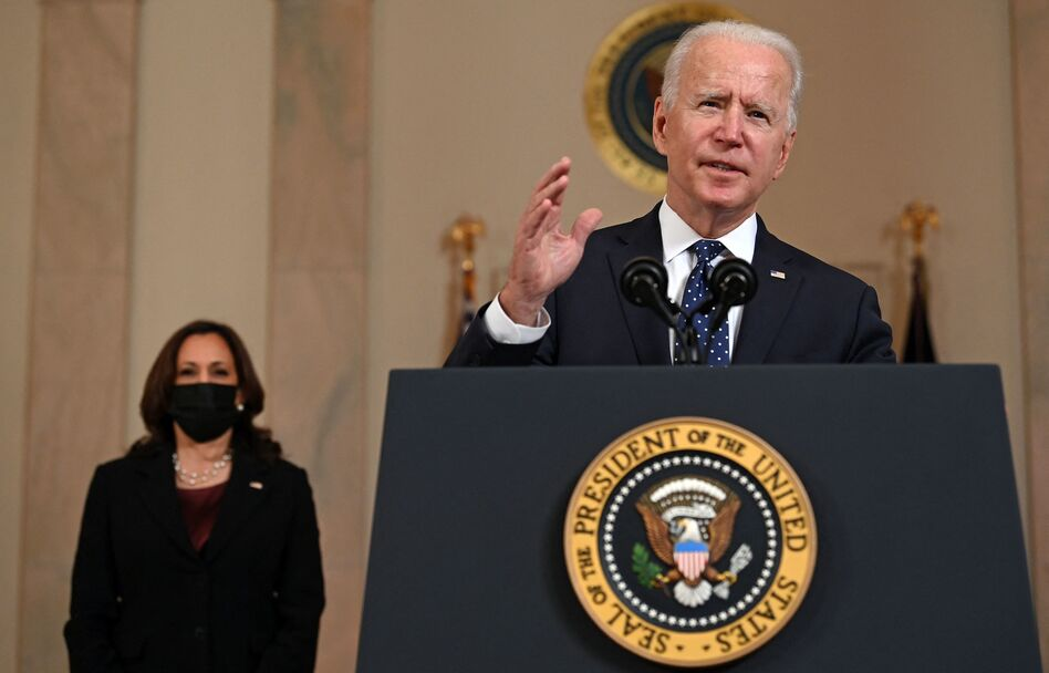 President Biden delivers remarks Tuesday on the guilty verdict against former police officer Derek Chauvin, as Vice President Harris looks on. (Brendan Smialowski/AFP via Getty Images)