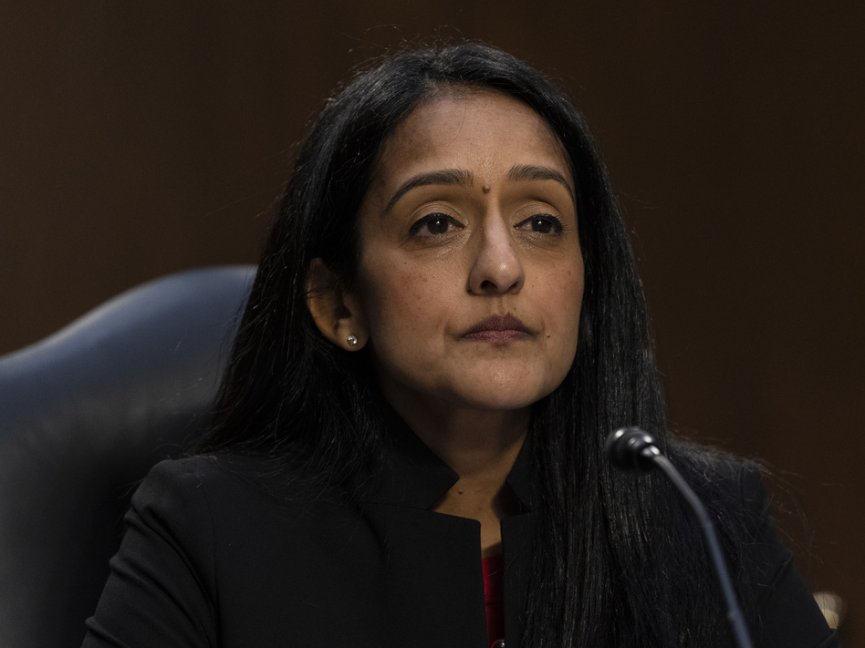 Vanita Gupta appears during her confirmation hearing last month before the Senate Judiciary Committee. The Senate voted to confirm Gupta as associate attorney general in a 51-49 vote. (Alex Brandon/AP)