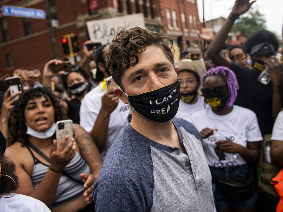 Minneapolis Mayor Jacob Frey was met with boos from protestors in his city last summer after saying he didn't support abolishing the police. (Stephen Maturen/Getty Images)
