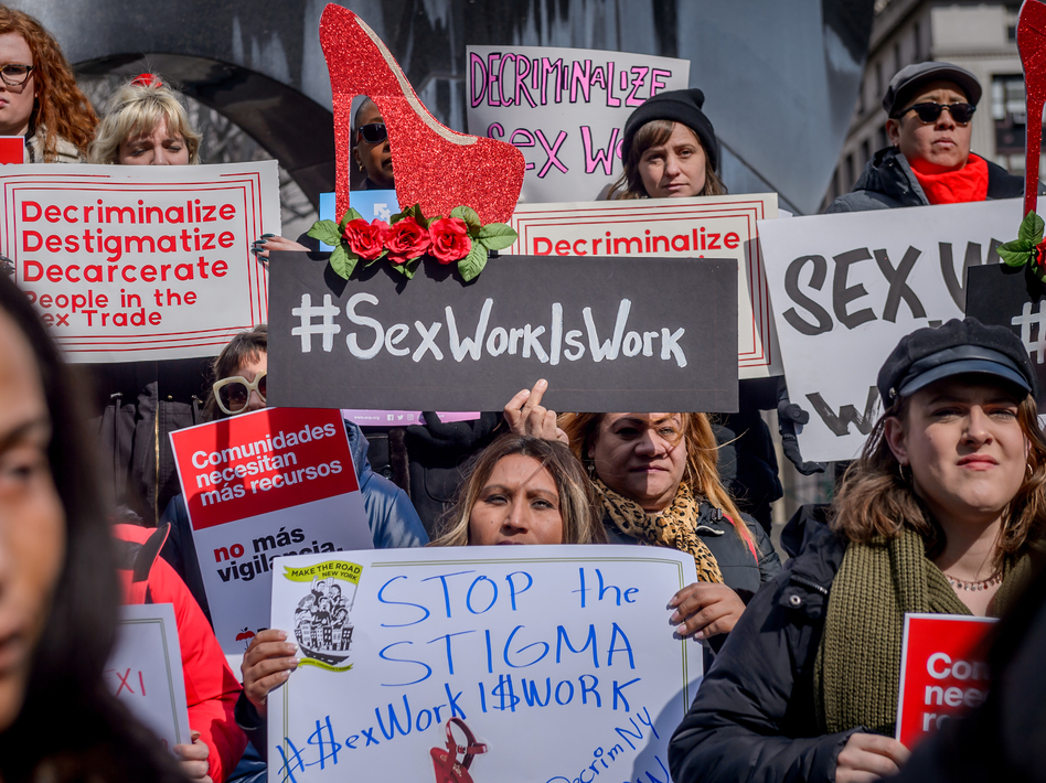Protesters gather in New York City in February 2019 to advocate for the decriminalization of sex trades in the city and state. The Manhattan District Attorney's Office announced more than two years later it would stop prosecuting prostitution and seek the dismissal of hundreds of related cases dating back decades. (Erik McGregor/LightRocket via Getty Images)