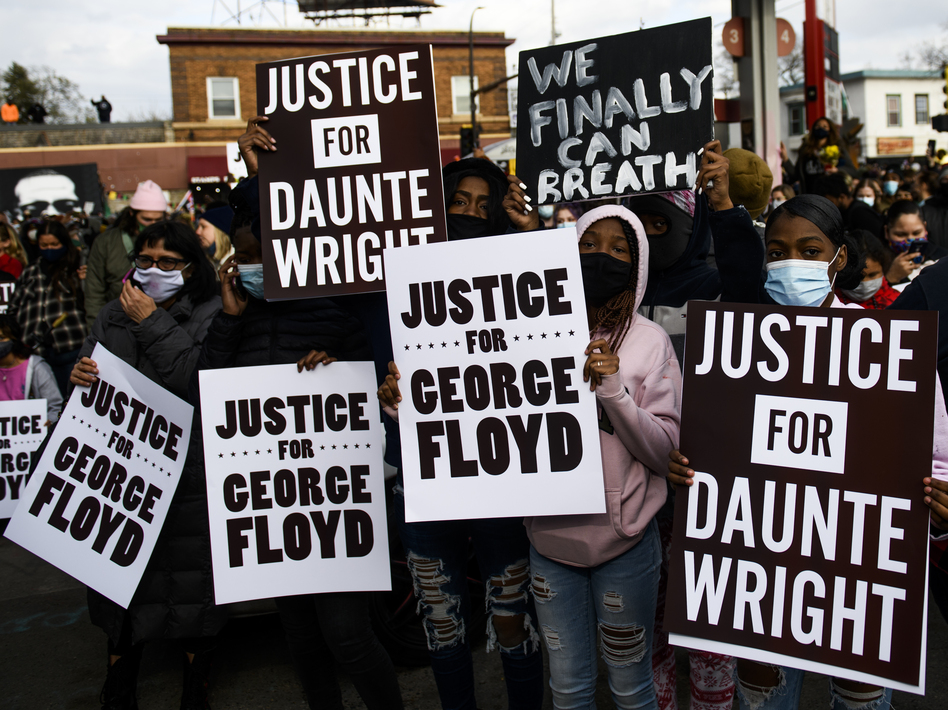 People celebrate at George Floyd Square in Minneapolis after the guilty verdict in the Derek Chauvin murder trial on Tuesday.