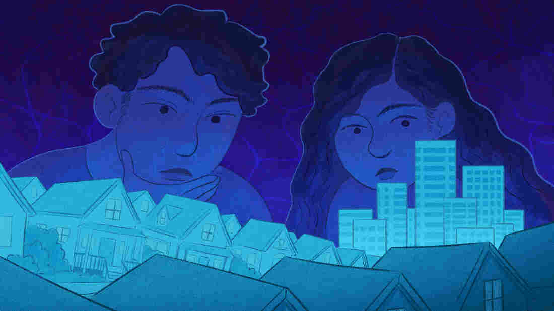 Floods are the most deadly and expensive natural disaster in the U.S. And yet, in most parts of the country, it's easy to move into a flood-prone building and not even know you're in harm's way. Image includes two figures looking over a set of buildings on a blue background.