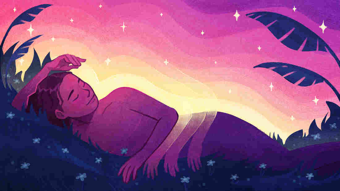 Illustration of a figure side-lying bathed in twilight with light radiating out of them — being embraced by the undulations. Palm fronds and stars surround the figure.