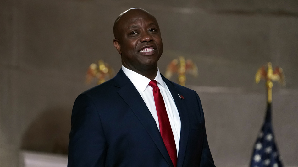 Sen. Tim Scott, R-S.C., pictured at the Republican National Convention on Aug. 24, 2020, gave the Republican response to President Biden's address to Congress on Wednesday. (Susan Walsh/AP)