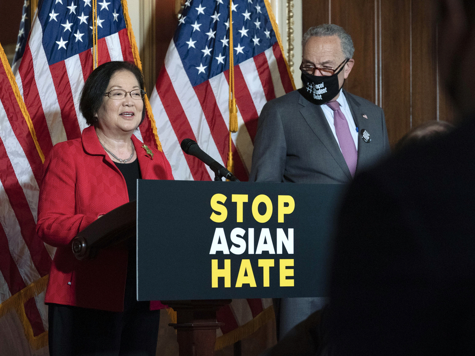 Sen. Mazie Hirono, D-Hawaii, accompanied by Senate Majority Leader Chuck Schumer, D-N.Y., addresses a news conference last week in Washington. Hirono introduced the legislation in the Senate.