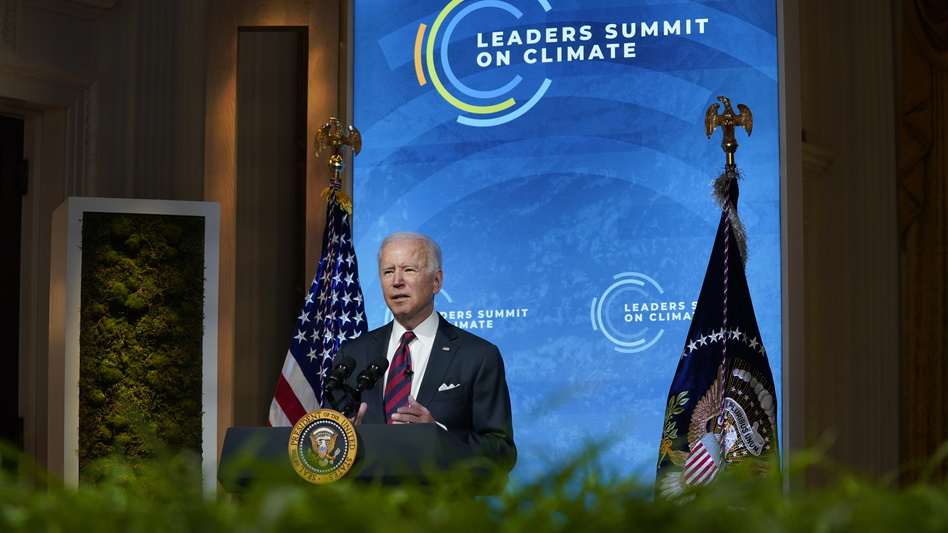 President Biden delivers opening remarks to the virtual Leaders Summit on Climate from the East Room of the White House on Thursday.