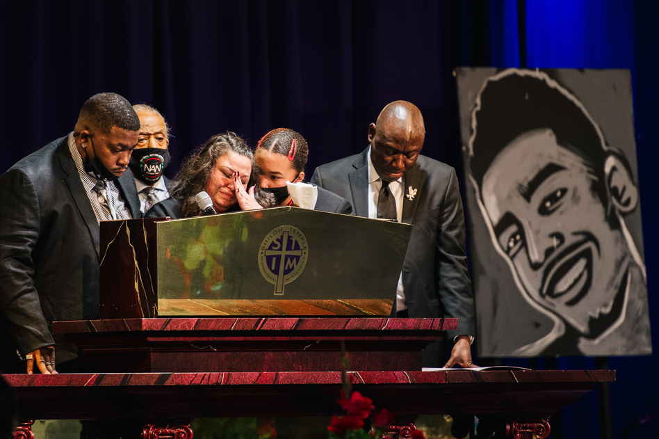 Katie Wright, the mother of Daunte Wright, wipes away tears as she speaks at her son's funeral Thursday in Minneapolis.
