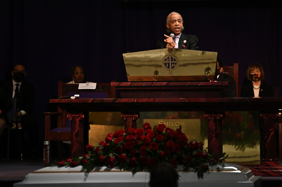 The Rev. Al Sharpton delivers the eulogy Thursday at Daunte Wright's funeral.