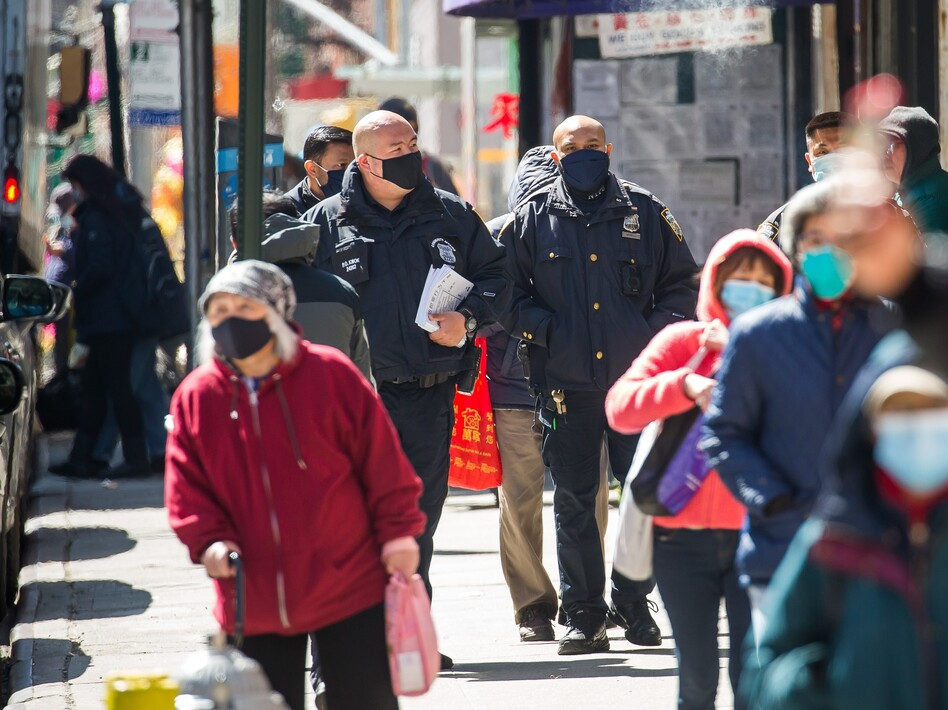 New York Police Department officers on patrol in the Chinatown neighborhood of Manhattan last month. Foot patrols were increased following the mass shooting in Atlanta which killed eight people, six of them women of Asian descent.