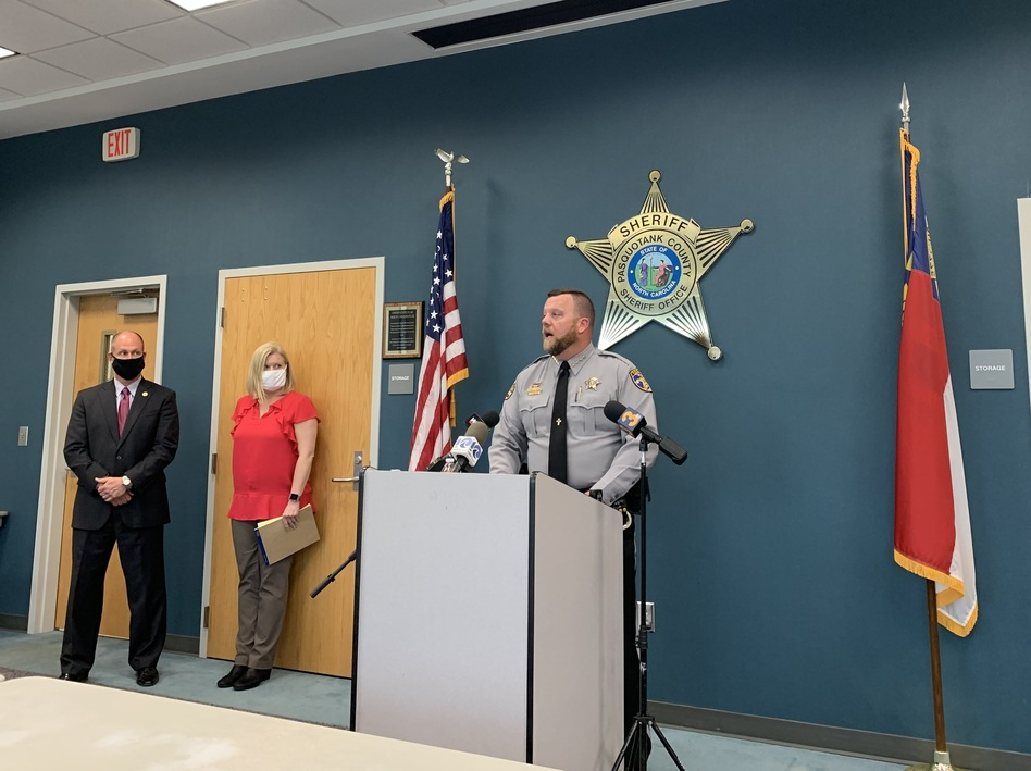 Pasquotank County Sheriff Tommy Wooten II addresses reporters in Elizabeth City, N.C., on Wednesday.