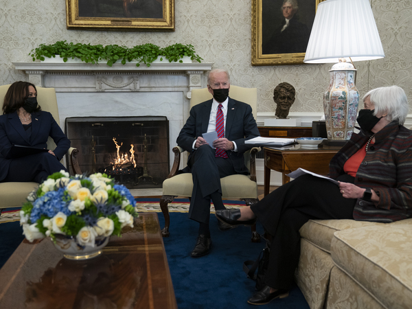 President Biden meets with Treasury Secretary Janet Yellen and Vice President Harris in the Oval Office on Jan. 29.